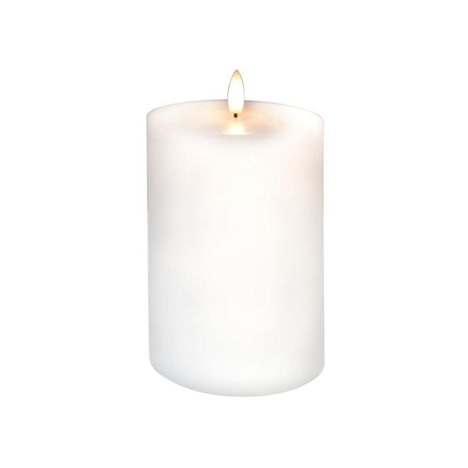 Danson Decor Outdoor Candle with Flickering LED Light - Plastic and Wax - 4-in x 6-in - White
