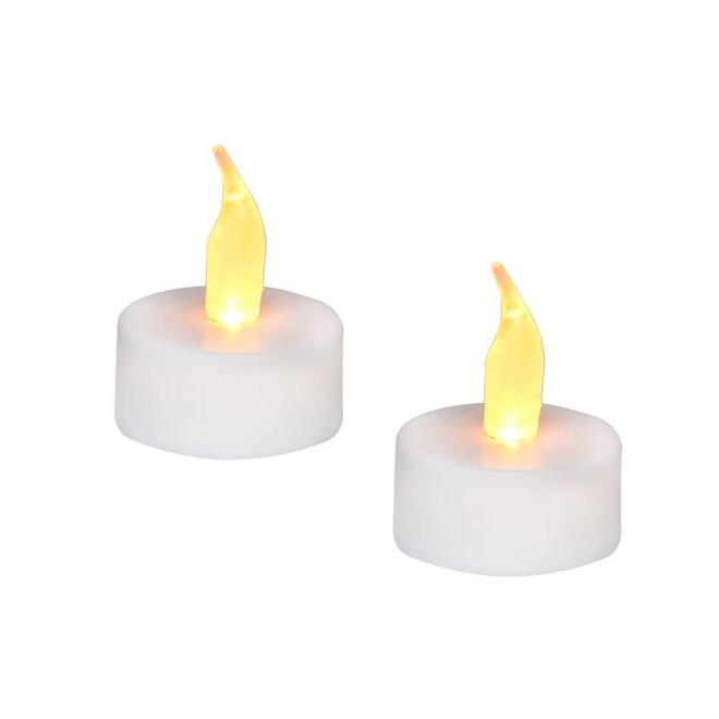 Danson Decor Flameless Tea Lights with Flickering LED Lights - Warm White - 2-Pack