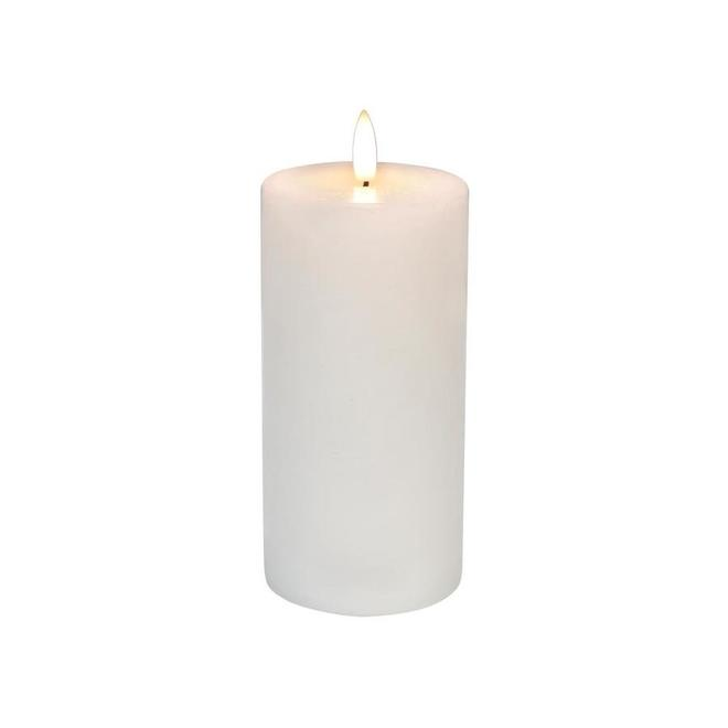 Danson Decor Indoor Outdoor Flameless Candle with Flickering LED Light - Plastic and Wax - 3-in x 6-in - White