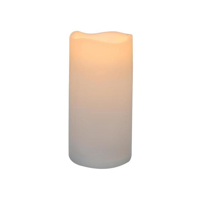 Danson Decor Indoor Outdoor Flameless Candle with Flickering LED Light - 3-in x 6-in - White