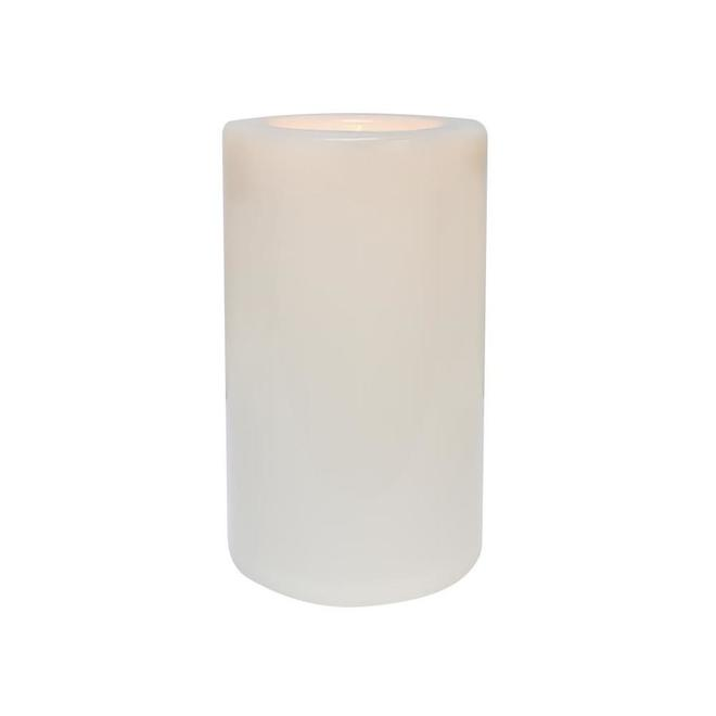 Danson Decor Indoor Outdoor Flameless Candle with Flickering LED Light - 6.5-in x 10.6-in - White