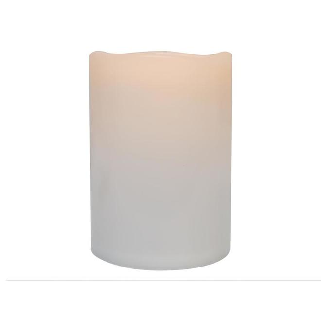 Danson Decor Indoor Outdoor Flameless Candle with Flickering LED Light - 4-in x 6-in - White