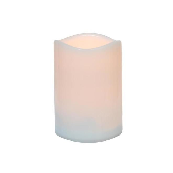 Danson Decor Indoor Outdoor Flameless Candle with Flickering LED Light - 3-in x 4-in - White