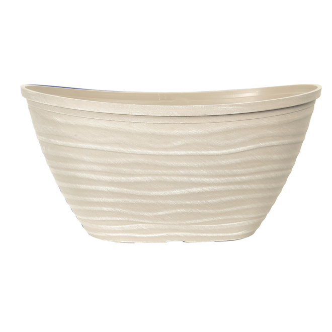 Oval Dune Planter - Plastic - 14-in - Beige and Grey