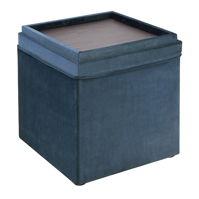 Blue Velvet Style Square Ottoman with Tray - 16-in