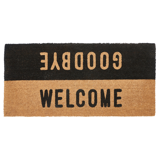FHE 22-in x 47-in Natural/Black Coir Door Mat with Welcome/Goodbye Print