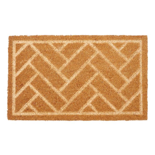 FHE 18-in x 30-in Brown Brick-Style Coir Door Mat