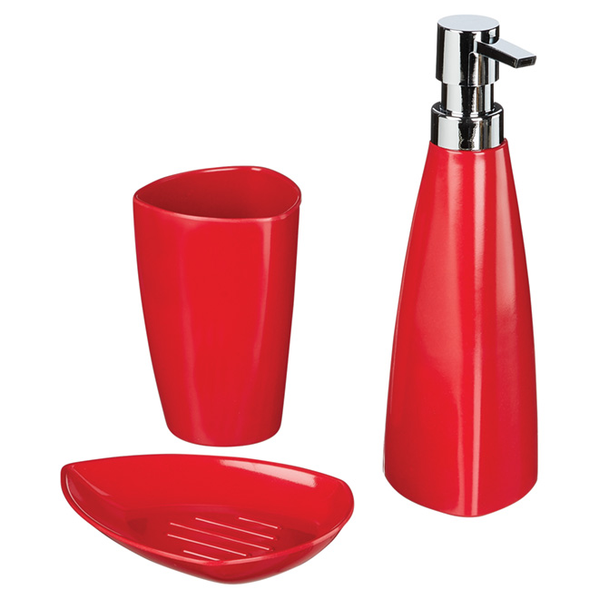 MODA AT HOME Ensemble de 3 pièces pour salle de bain, rouge 104804 ...
