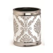 Damask Ceramic Wastebasket - Silver/White