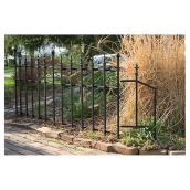 Grapevine End Panel Classic Fence - Metal - 37-in x 30-in - Black