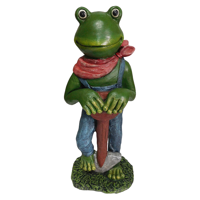 Frog with Shovel Garden Statue - 24""