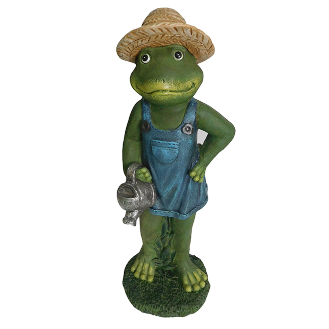 Frog with Watering Can Garden Statue - 18""