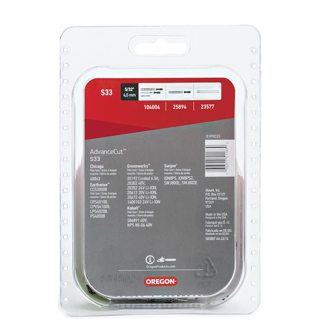 Chaîne pour scie mécanique Oregon AdvanceCut S33, pas de chaîne de 3/8 po, calibre de 0,05 po, longueur du guide 8 po