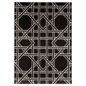 Tapis d'extérieur, modèle géométrique, 8' X 10', noir