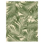 Allen + Roth Bright Palm Outdoor Rug - 8-ft x 10-ft - Green and White