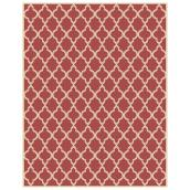 Allen + Roth Trellis Outdoor Rug - Polypropylene - 8-ft x 10-ft- Red