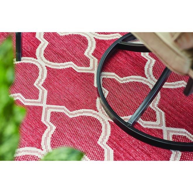 Allen + Roth Trellis Outdoor Rug - Polypropylene - 8-ft x 10-ft- Red