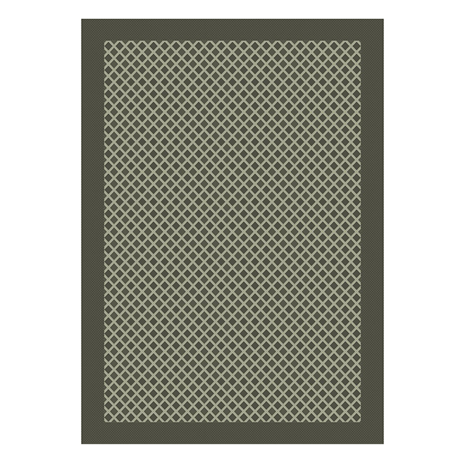 Allen + Roth Moroccan Outdoor Rug - Polypropylene - 5-ft x 7-ft - Grey