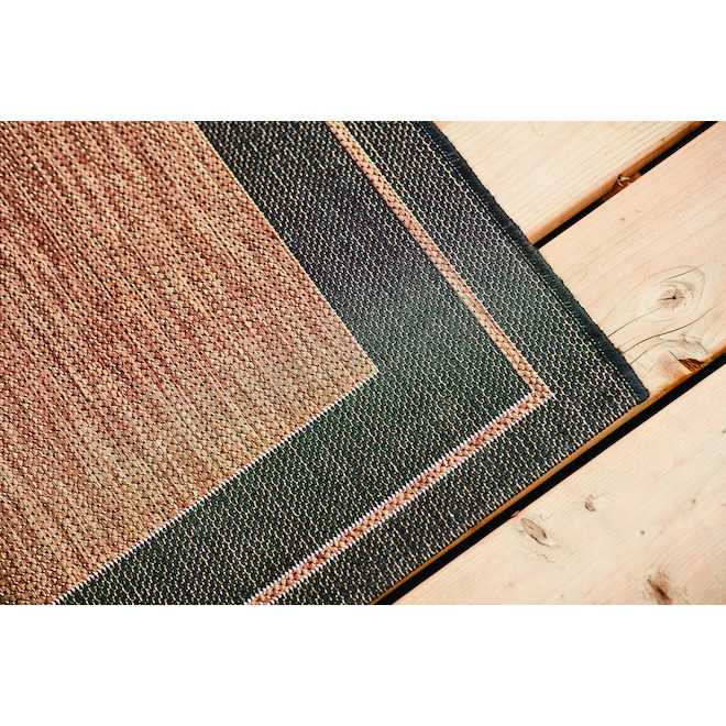 Allen + Roth New Haven Outdoor Rug -  Polypropylene - 5-ft x 7-ft - Brown and Black