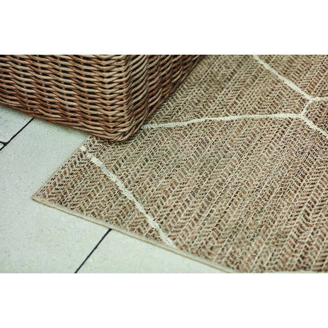 ALLEN + ROTH Polypropylene Rug - Geometric - 8-ft x 10-ft - Neutral