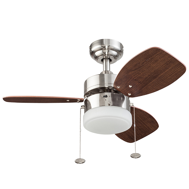 "Ceiling Fan - 30"" - 120 V - Steel and Glass - Brushed Nickel"