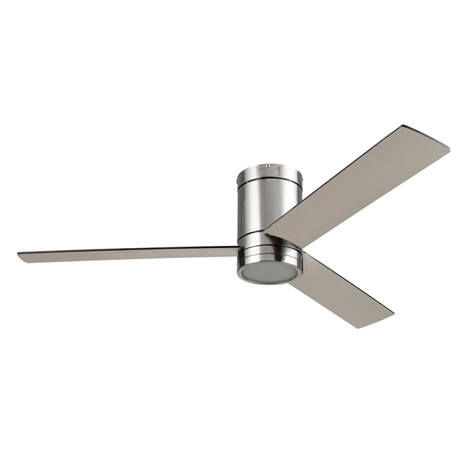 "Ceiling Fan - 52"" - 120 V - Glass and Steel - Brushed Nickel"