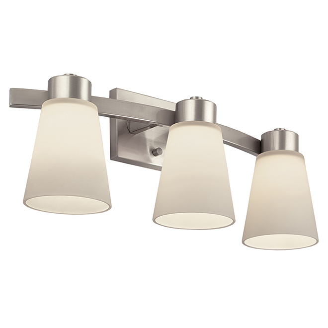 Bathroom Wall Sconce - Steel - 3 Lights - Nickel