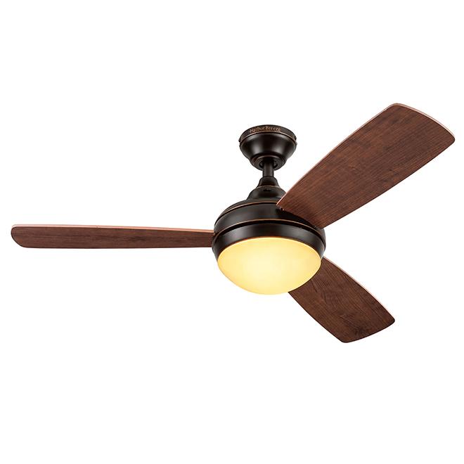 Ceiling Fan - 44-in - 3 Blades - 1 LED Light - Oiled Bronze