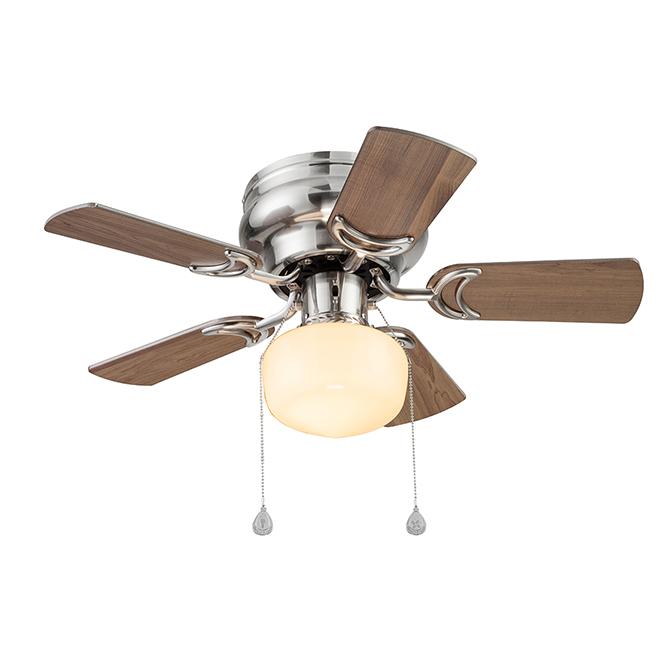 Harbor Breeze Ceiling Fan 30 1 Light 5 Blades Nickel 41577 Rona