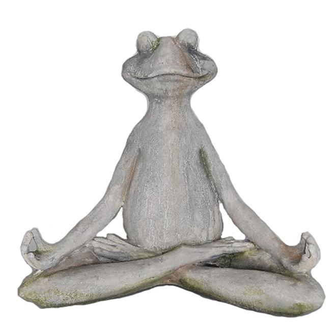 Meditating Frog Statue - 45 x 27 x 39.5 cm - Grey