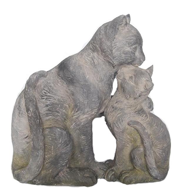 """Statue de chats pour jardin, 13,7"""" x 7,4"""", résine, gris"""
