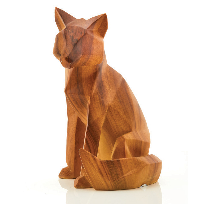 Christmas Ornament - Resin Fox - Wood Finish