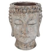 Pot de fleurs tête de bouddha, 8,5 po, résine, gris