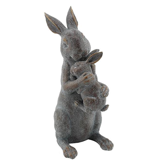 Bunny Statue - Mother/Baby - 15 1/2'' - Grey