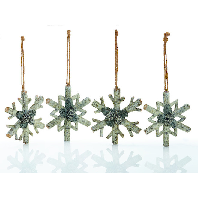 Holiday Living Handcraft Ornaments with Pinecone - Rustic Tidings - White