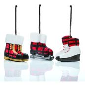 Holiday Living Ornamental Boots and Skates - Rustic Tiding - Red - 3/Pack
