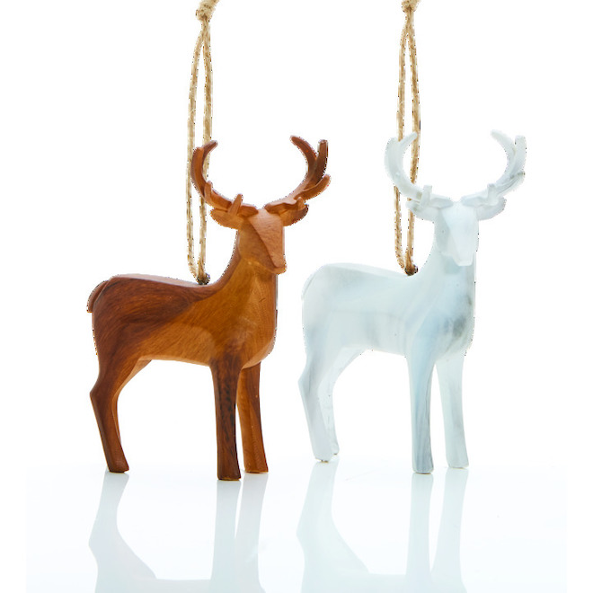 Holiday Living Deer Ornaments - Rustic Tidings - Brown and White - 4/Pack