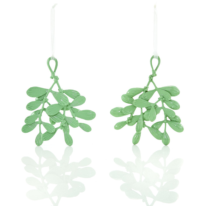 Holiday Living Leave Shaped Ornements Resin Green 4-Pack