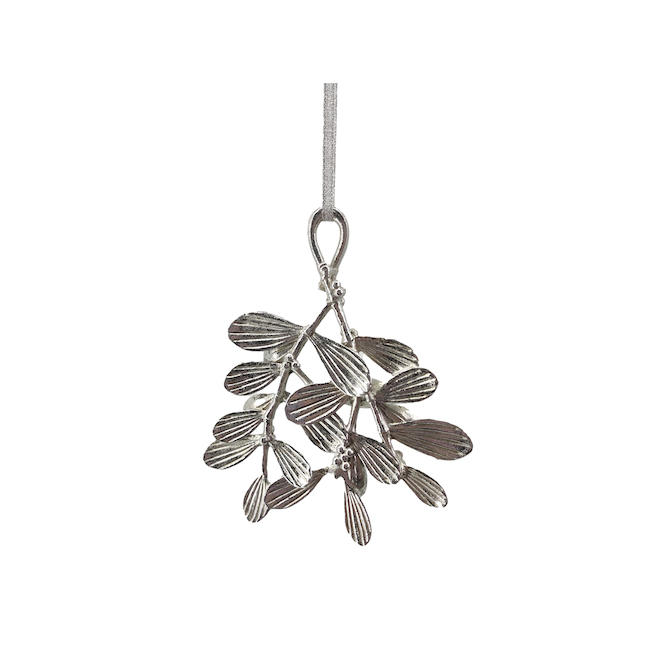 Holiday Living Leave Shaped Ornements Resin Silver 4-Pack