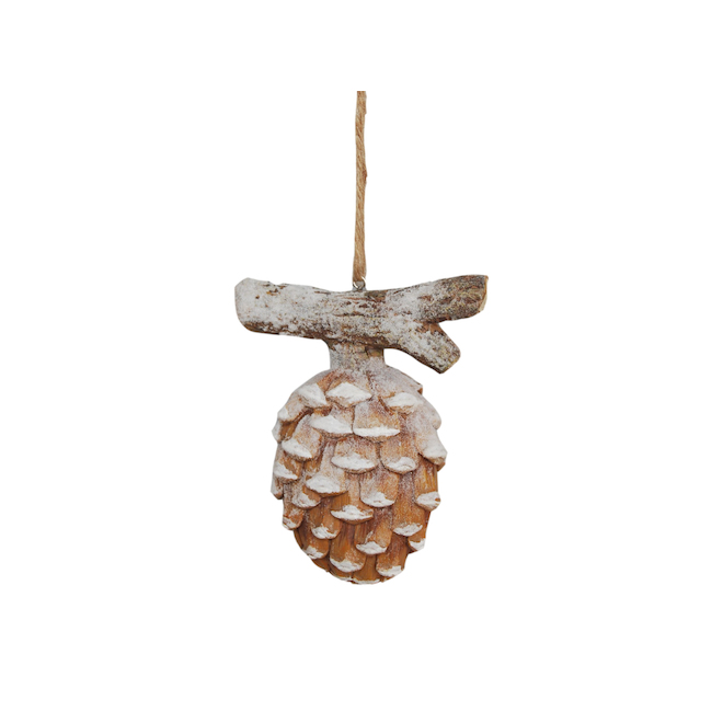 Holiday Living 3-Pack Resin Pinecone Shaped Ornements Wood