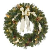 Lighted Wreath with Ribbon - 30