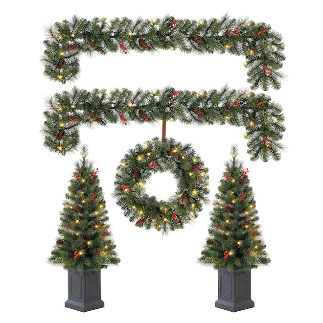 Ensemble décoratif Holiday Living Cayuga avec arbre, couronne et guirlande