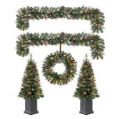 Holiday Living Cayuga Decorative Set with Tree, Wreath and Garland