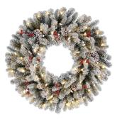 Holiday Living Battery Powered Christmas Wreath Harrington - 50 Warm White LED Lights - 30-in