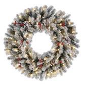 Couronne de Noël alimentée par piles Harrington de Holiday Liing, 50 lumières DEL blanc chaud, 30 po