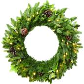 Holiday Living Battery Powered Christmas Wreath Harpersville - 50 Warm White LED Lights - 30-in