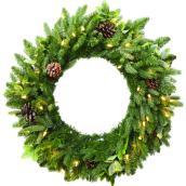 Couronne de Noël alimentée par piles Harpersville de Holiday Liing, 50 lumières DEL blanc chaud, 30 po