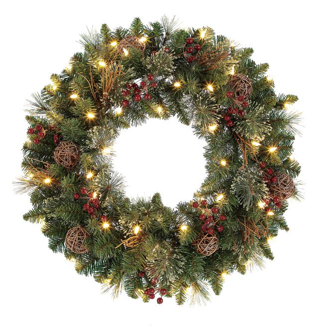 Couronne de Noël alimentée par piles Harrisville de Holiday Living, 50 lumières DEL blanc chaud, 24 po