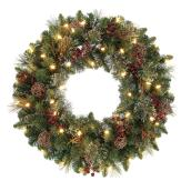 Holiday Living Battery Powered Christmas Wreath Harrisville - 50 Warm White LED Lights - 24-in