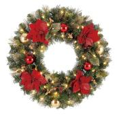 Holiday Living Battery Powered Christmas Wreath Chesapeake - 50 Warm White LED Lights - 30-in